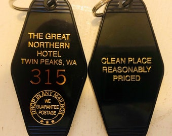 Black/Gold Twin peaks inspired great northern hotel keytag