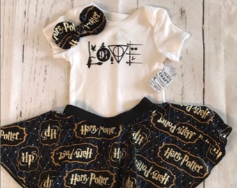 597d7205de95 Harry Potter baby girl outfit. Voldemort. Hogwarts. Love bodysuit and  circle skirt gift set. Free headband bow. Free Shipping.