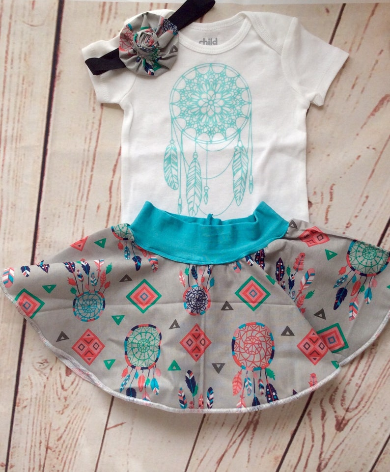 c045b9ea2a48e Dream catcher baby girl clothing set. Onesie bodysuit and circle skirt.  Size 3 months. Free headband bow. Free shipping. Gift set.