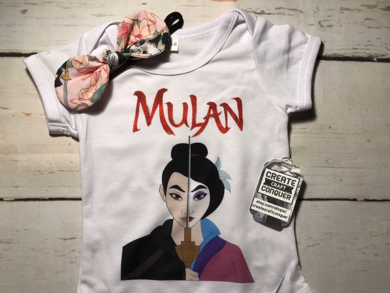 Free shipping. and free bow Onesie bodysuit skirt Mulan baby outfit