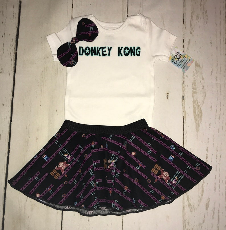 d190b6ddb1c21 Donky Kong 8 bit baby girl outfit gift set. Skirt, onesie, and free  headband bow. Free shipping. Nintendo. Nes. 6-12M. Old school games