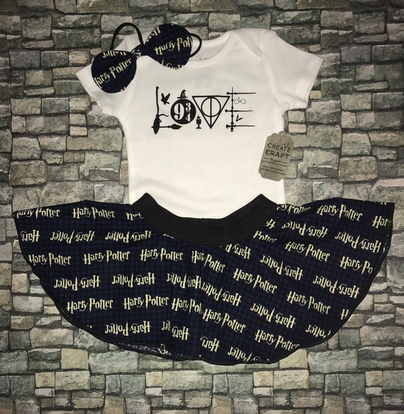 Bodysuit and HP fabric skirt set Free headband bow Silver 3-6 Deathly Hallows Harry Potter baby girl outfit Free Shipping Hogwarts
