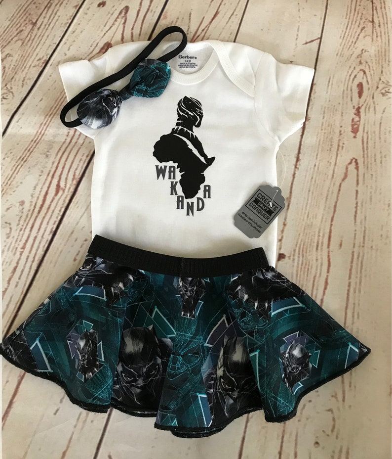 43d9e3a4221 Black panther wakanda baby girl outfit gift set. Onesie