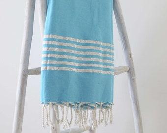 bc5bf893889 VERKOOP zilveren Hamam doek in licht blauw in katoen. Grote  strandlaken/Fouta