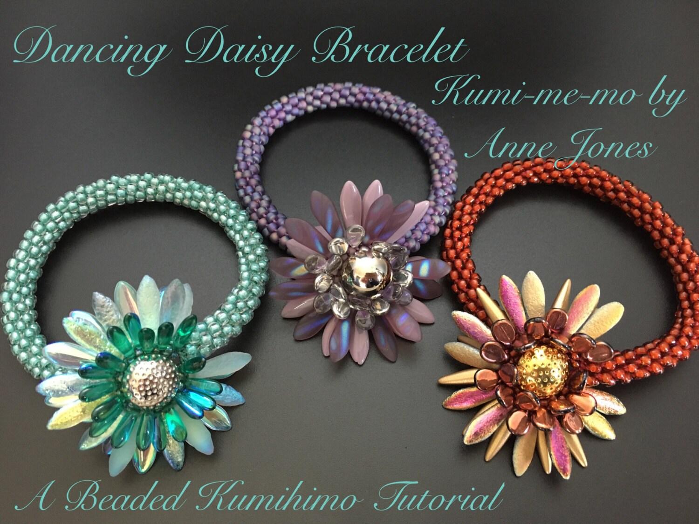 Dancing daisy bracelet beaded kumihimo tutorial etsy zoom izmirmasajfo