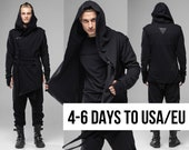 Hooded asymmetrical men coat, cyberpunk gothic black long jacket, post apocalyptic assassins cosplay Jedi outfit, oversized cardigan, A0159