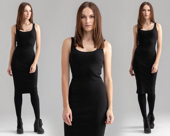 Black Pencil Dress Day Dress Casual Dress Summer Dress Basic Etsy