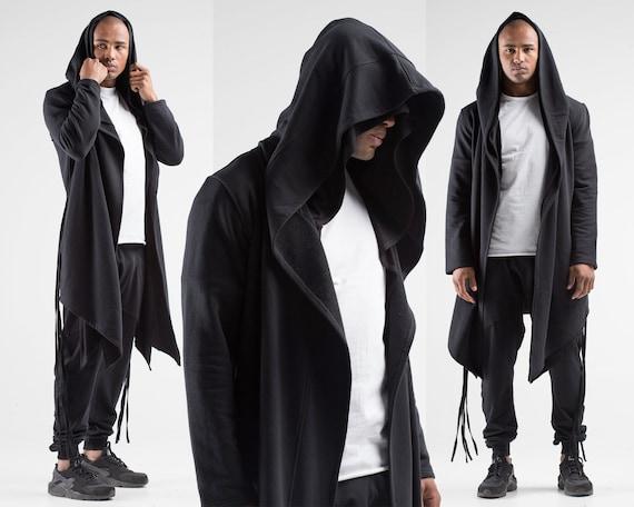 Cosplay Costume Cyberpunk Clothing Punk Gift for Man Black Hoodie Long Man Cardigan Man Jacket Jacket A0060