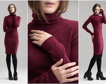 Winter Dress , Midi Sweater Dress , Long Sleeves Red Dress , Casual Mock Neck Dress, Minimalist Warm Winter Dress A0003