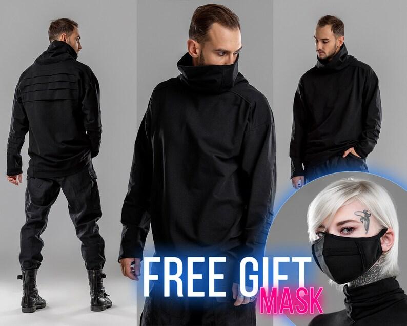 Turtleneck mens sweater cyberpunk futuristic top gothic image 0