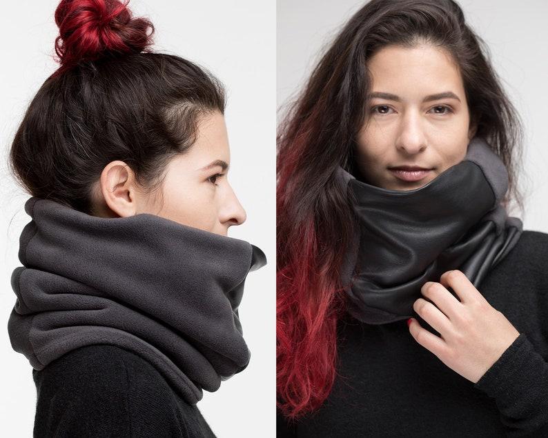 cfe1339058ceb Echarpe snood gris noir Col écharpe accessoires en cuir | Etsy