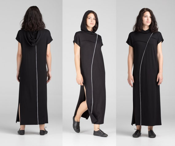 black Asian in shirt loose goth Dress fit Maxi tunic Dress casual kaftan A0115 T clothing Style summer geometric long hooded cyberpunk qWXcpwyYOt