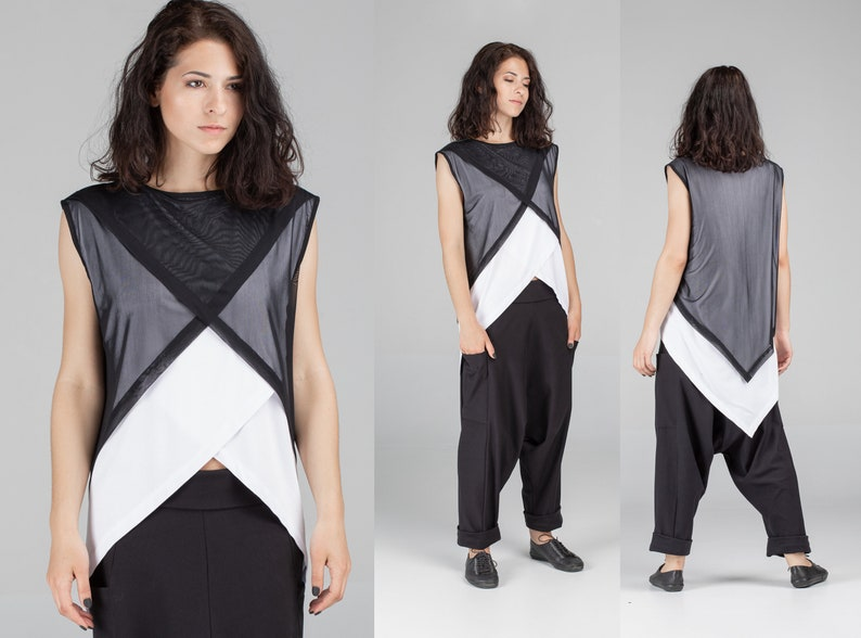 c829525a43bd Asymmetrical white shirt with black mesh top sheer summer