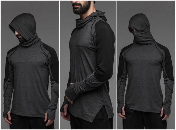 Ninja sweat à capuche à manches longues, vêtements de cosplay gris pour hommes, masque à poussière fantaisie costume pull, col roulé noir haut A0099