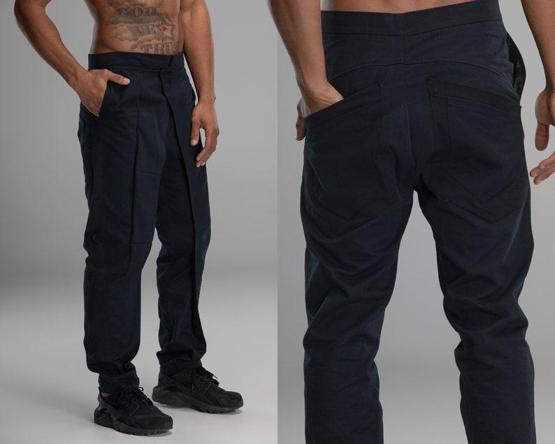 c2d7acd10e Black harem pants men wrap classic trousers drop crotch | Etsy