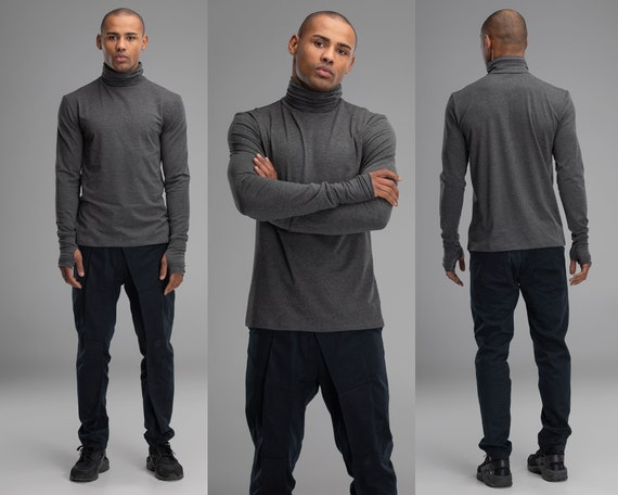 Turtleneck grey sweater, men slim fit jumper, casual urban outfit,  futuristic long sleeve shirt, minimalist pullover, steampunk top, A0239
