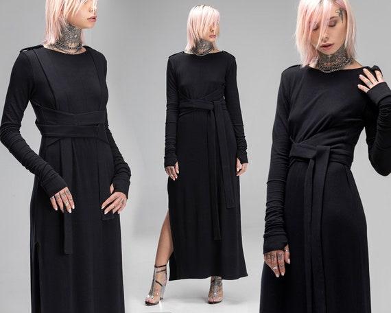 Black Maxi Prom Dress Gothic Wedding Cocktail Futuristic Etsy