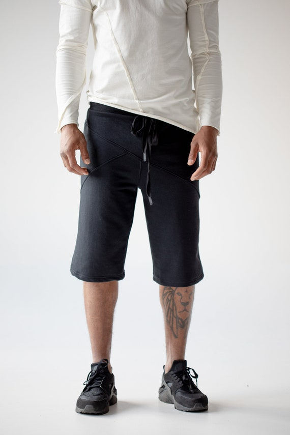 A0122 boyfriend with shorts pockets zipped urban clothing black shorts sports activewear running summer goth gift cyberpunk steampunk Men ZntxTqHSww