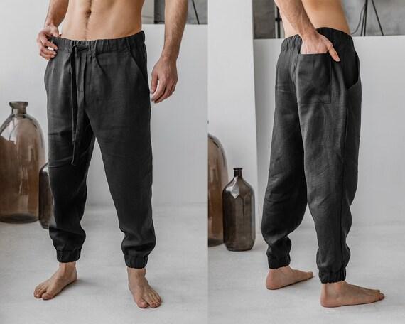 Linen men pants Meigin black, samurai linen harem pants, linen track yoga trousers, A0343
