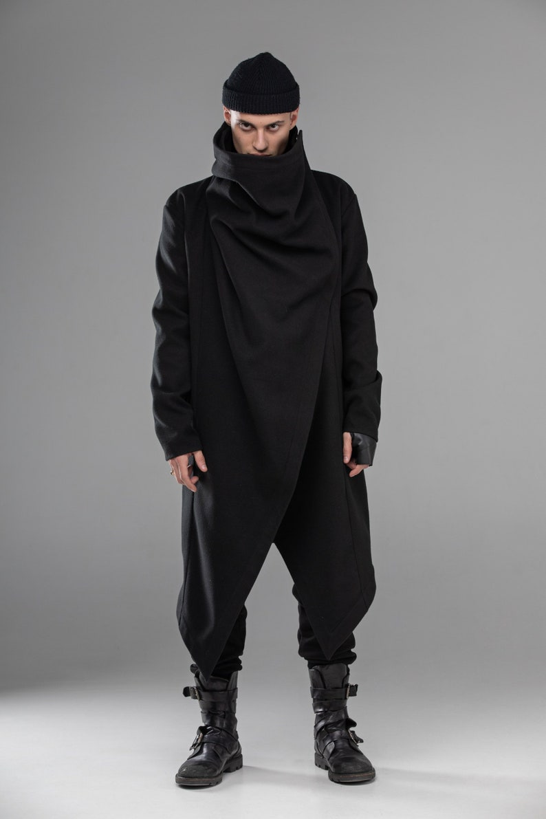 33e0fc7c3b94a Oversized geometric loose fit coat men draped punk goth