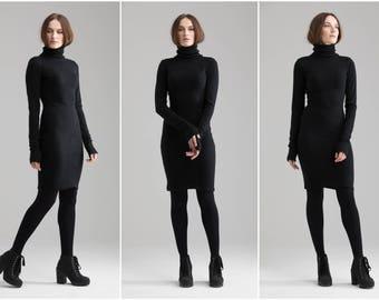 Black Wool Dress , Casual Winter Dress Warm Dress Midi Dress Winter Formal Dress Knee Length Dress Minimalistic Clothing A0003