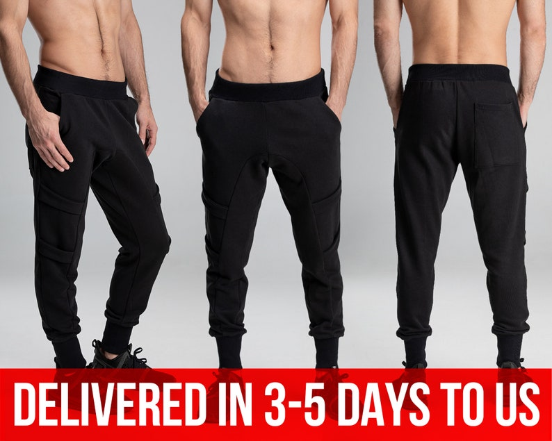 Drop crotch harem pants men/'s track joggers black baggy cargo trousers steampunk cybergoth clothing army sweatpants A0167