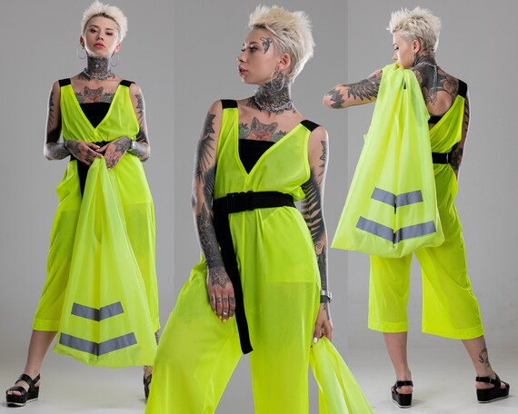 culottes pants sci-fi cyber goth clothing A0272 V-neck neon bodysuit Wide leg sheer jumpsuit festival overalls