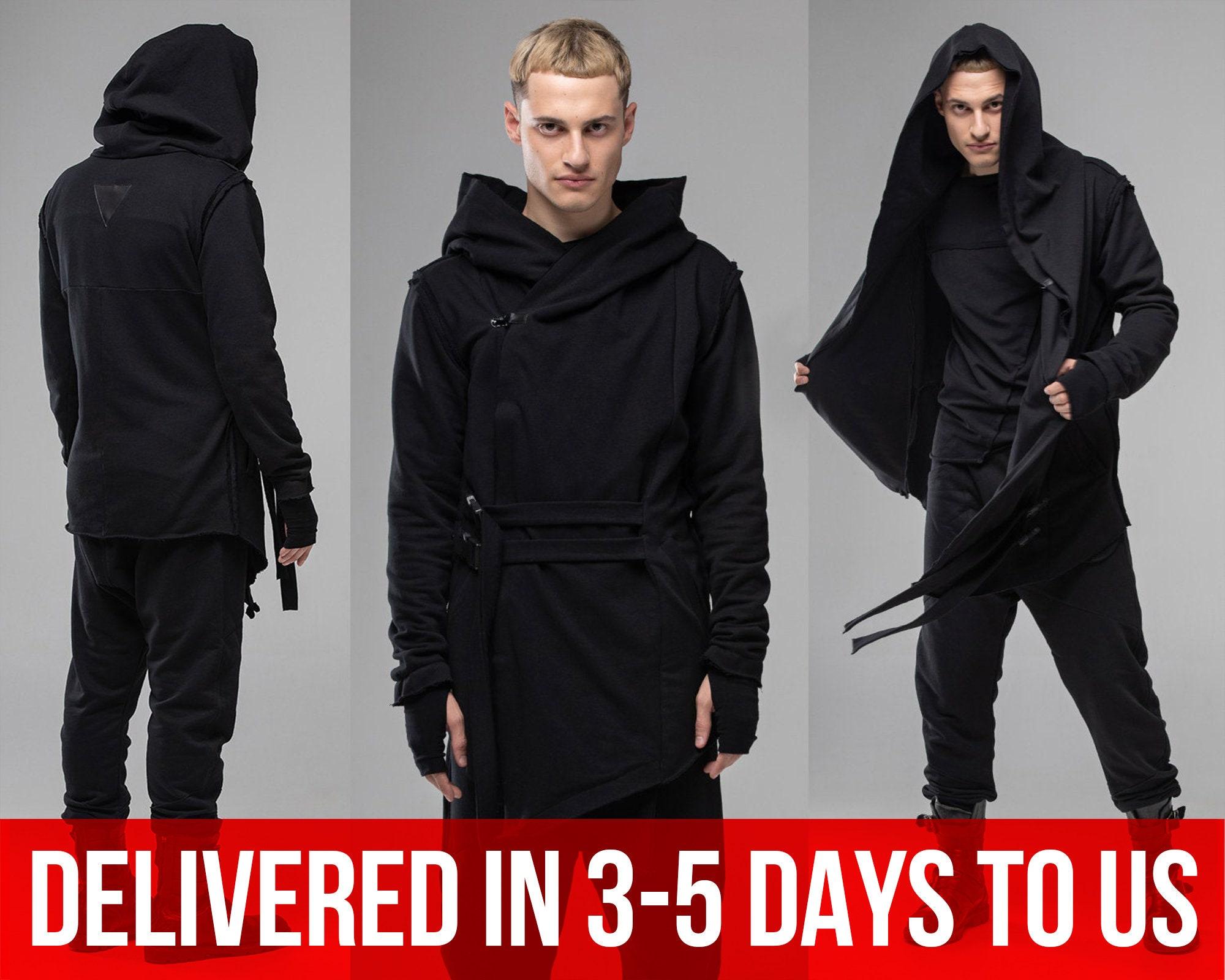 Cyberpunk Clothing Hooded Cloak Sleeveless Asymmetrical Hoodie Coat Black Wool Vest Women