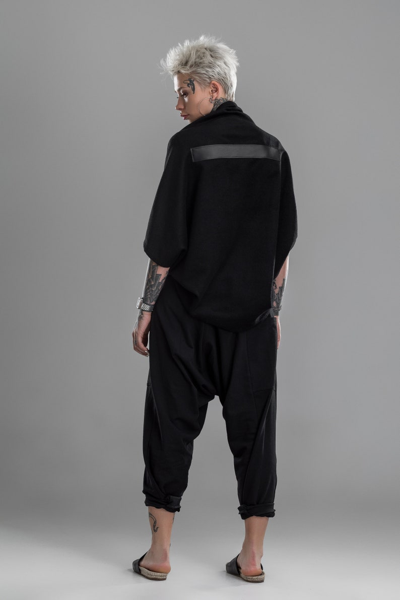 A0295 gothic crop top Oversized bomber jacket cyberpunk rock clothing women cape coat black bolero shrug loose cardigan