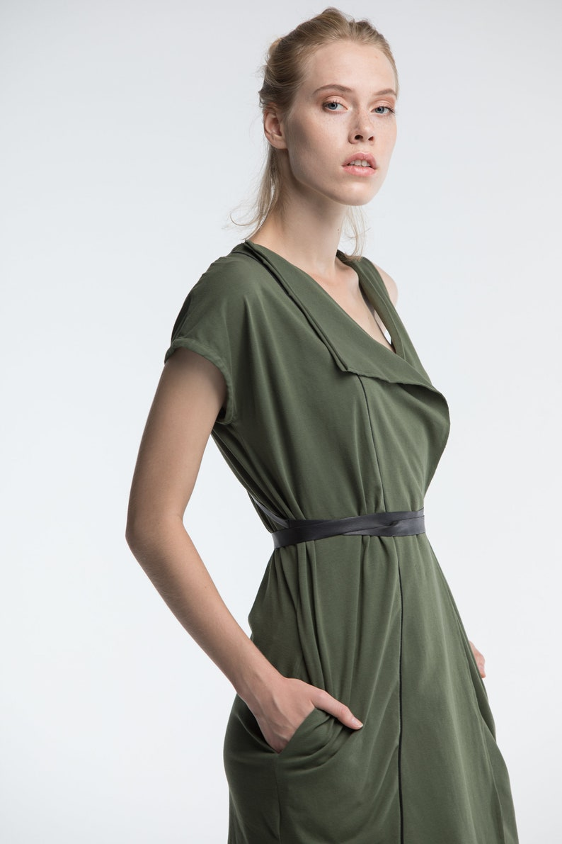804f228ab905a Green warp tunic dress, witch costumes, women asymmetric dress, long wrap  top, sleeveless tunic, alternative summer clothing, A0137