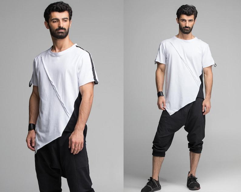 e78eeab886f White and black men t-shirt