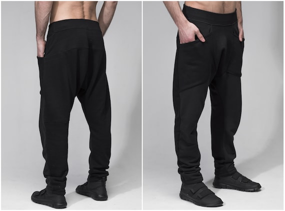 Men harem low crotch black pants, goth joggers, summer yoga track pants, post apocalyptic clothing, loose baggy pants cotton trousers A0107