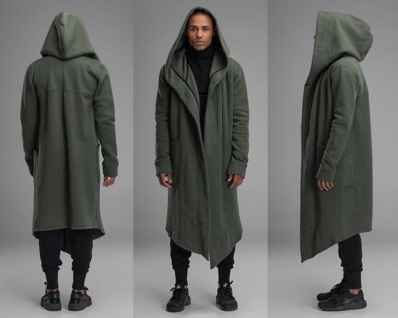 Men hooded green cape short khaki mantle long military image 0