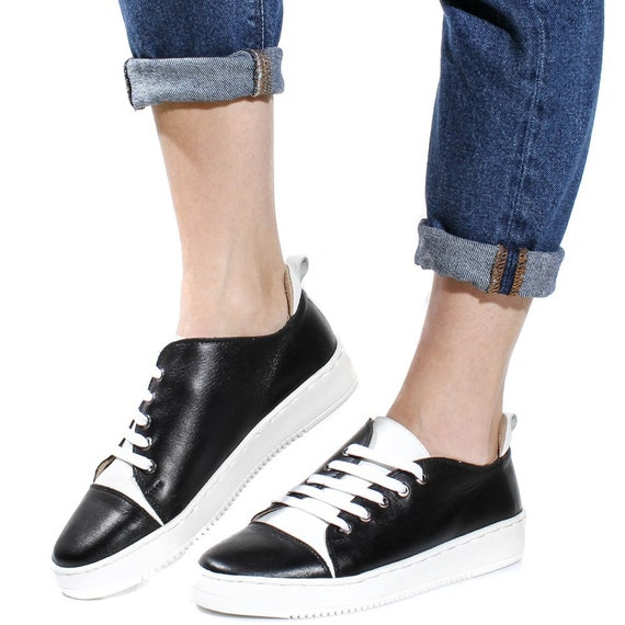 with gift sport trainers vans Handmade skool platform Leather keds girlfriend sneakers shoelaces old women shoes TL0024 running white black CPTxtwq