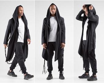 Assassin Creed Hoodie, Cyberpunk Clothing Punk Gift for Man Black Hoodie Long Man Cardigan Jedi Man Jacket Cosplay Jacket A0060