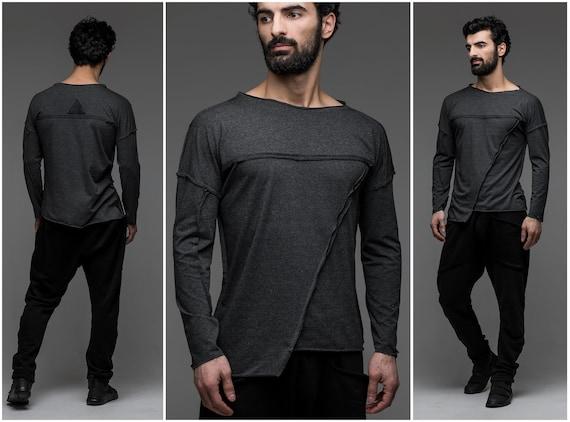 Cavalier futuriste gris pour homme, Sweat asymétrique, cyber goth vêtements, pull triangle, streetwear apocalyptique, chemise à manches longues A0098