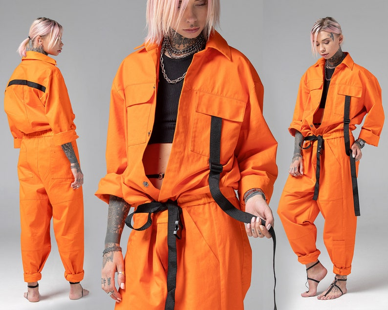 822a342f675 Women one piece jumpsuit mechanic orange overalls adult