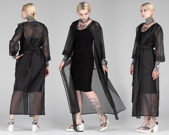 Transparent Veste Pour Manteau Deetsy Noir Maxi Femme Uxziopk Maille lK1FJ3Tc