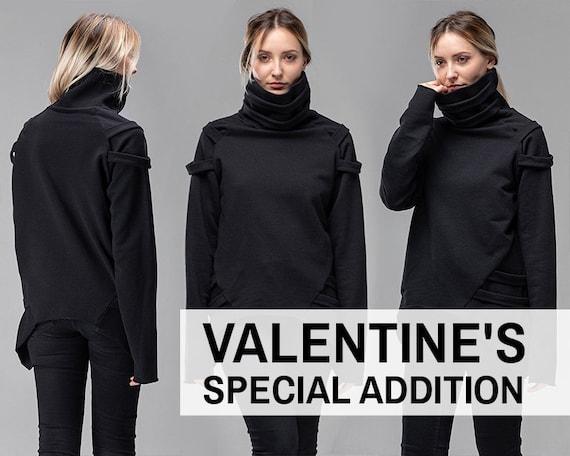 Cyberpunk gothic turtleneck sweater, asymmetric oversized jumper, futuristic black pullover, festival sci fi clothing, geometric top, A0170