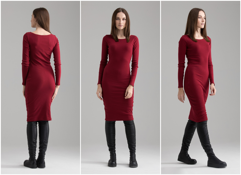 0c8020a0163 Tight Red Dress Casual Winter Dress Midi Dress Bodycon Dress | Etsy