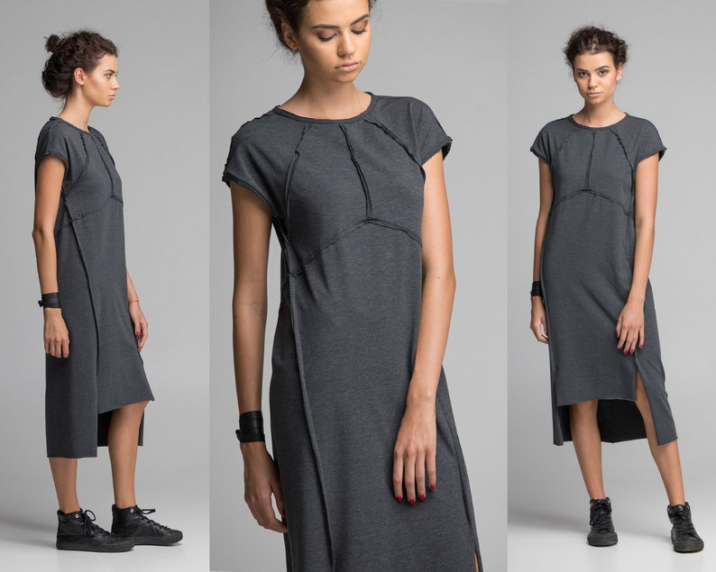 db38ae137ce7 Gray geometric dress women jersey dress midi t-shirt dress