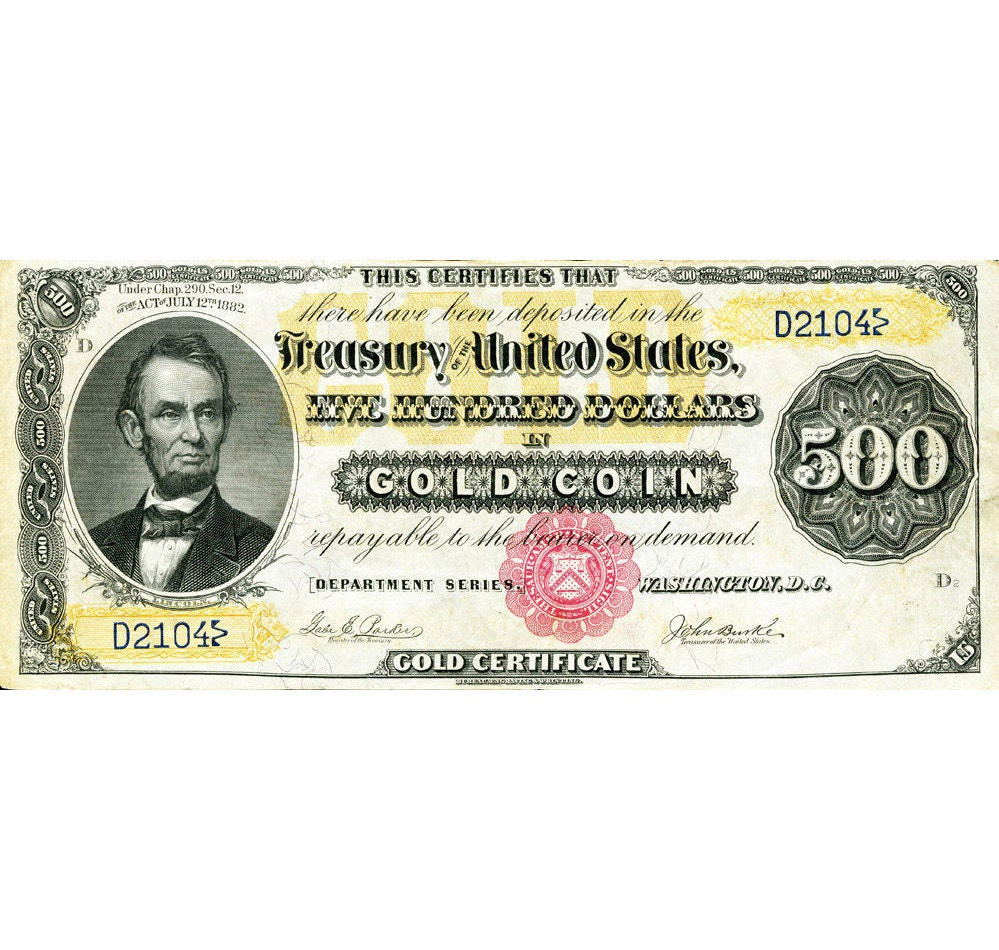 Replica 500 Dollar Gold Certificate 1882 Lincoln Bank Note Etsy