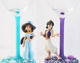 Disney's Aladdin and Jasmine glass
