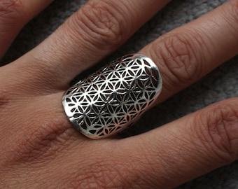 FLOWER OF LIFE Silver Ring - Flower of Life Ring, Gemstone Ring, Tribal Ring, Bohemian Ring, Boho Ring, Sacred Geometry Ring, Psytrance, Psy