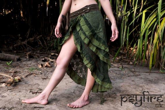 GREEN PIXIE Skirt - Lace Skirt, Festival Skirt, Long Skirt, Gypsy Skirt, Bellydance Skirt, Full Length Hippie Skirt, Short Skirt, Psytrance