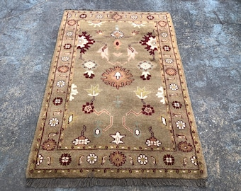 "Persian Rug Hand-Knotted Overall Floral Design, Indian Wool Rug,  (Brown, Green, Red) 180cm x 120cm (6'"" x 4'0"")"