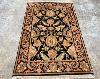 "Persian Rug Hand-Knotted Overall (Afshan) Design, Indian Jaipur Rug, (Black, Red, Green) 190cm x 123cm (6'2"" x 4'0"")"