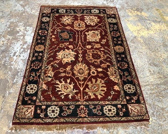 "Persian Rug Hand-Knotted Overall (Afshan) Design, Indian Agra Rug, (Red, Navy, Green) 185cm x 122cm (6'0"" x 4'0"")"