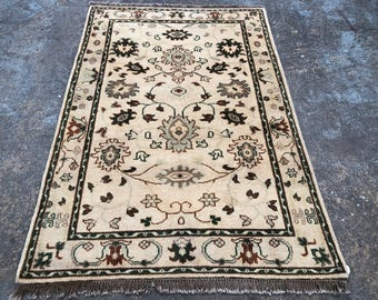 "Persian Rug Hand-Knotted Overall Design, Indian Wool Rug,(Gold, Green, Brown) 180cm x 120cm (6'"" x 4'0"")"