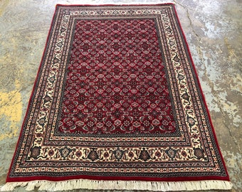 "Persian Rug Herati Design Hand Knotted Indian Made (Red, Cream, Navy) 190cm x 133cm (6'2"" x 4'3"")"